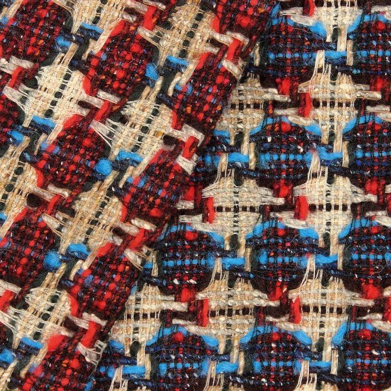 Tissu double face laine et coton - beige bleu