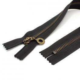 Zipper - metal bronze and black
