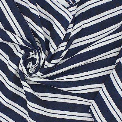 Tissu jacquard polyester double face rayé bleu/blanc