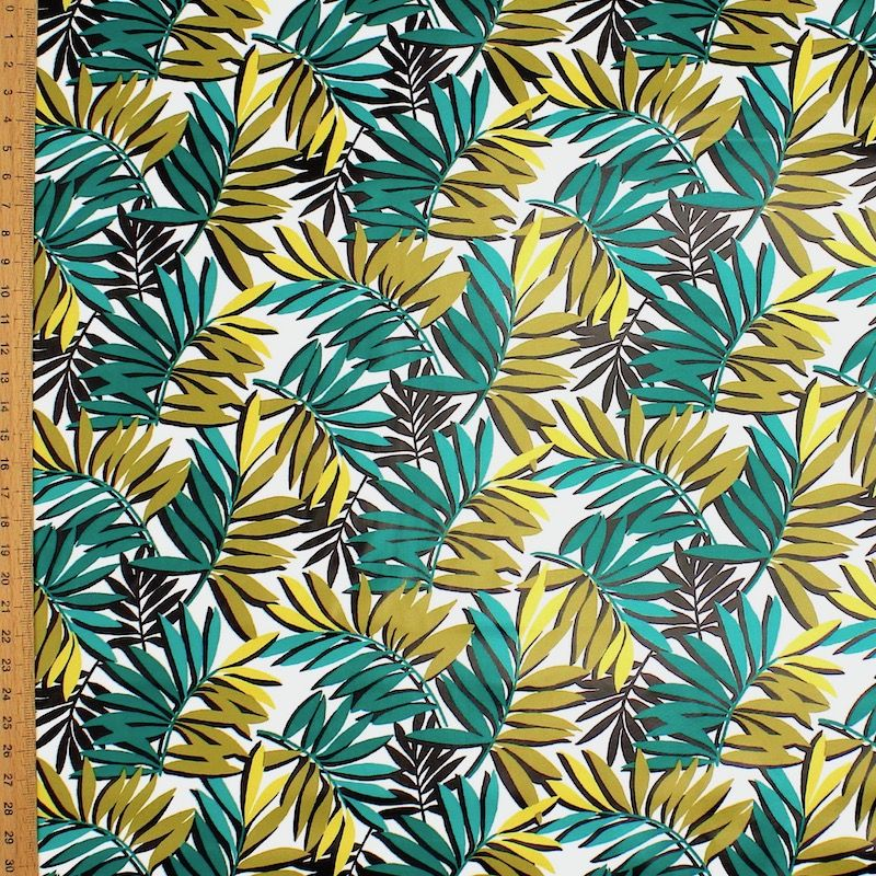 Oilcloth with grey leafs - white background