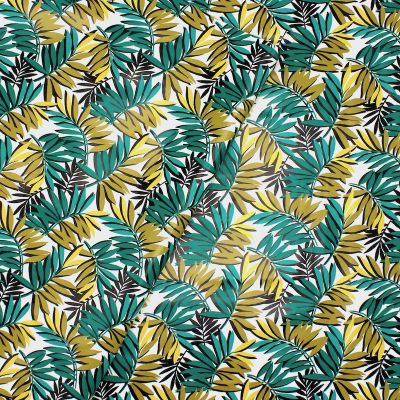 Oilcloth with green leaves - white