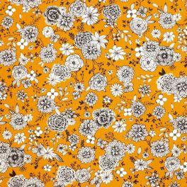 Tissu coton floral - curry