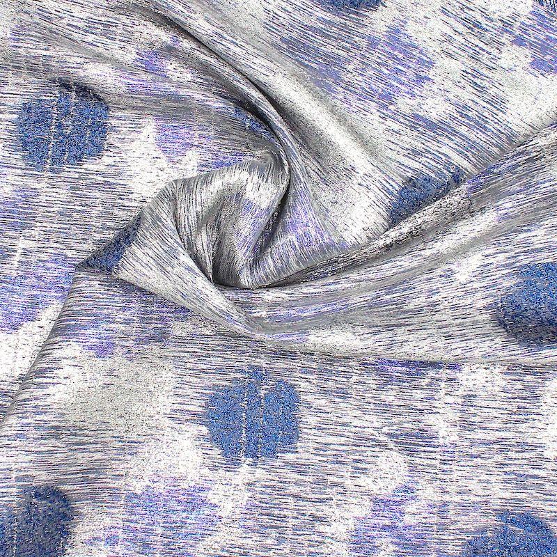 Tissu jacquard fil fantaisie métallisé - bleu/argent