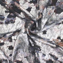 Bedrukt sluier in zijde met lurex draad