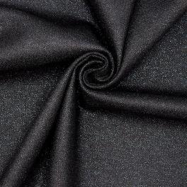 Wool fabric with blue ornament thread - black