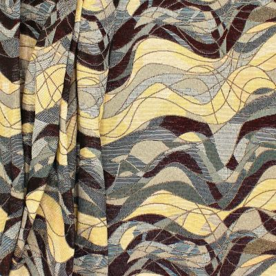 Jacquard fabric with waves - black