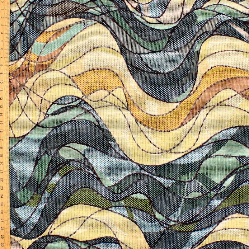 Jacquard fabric with waves - blue