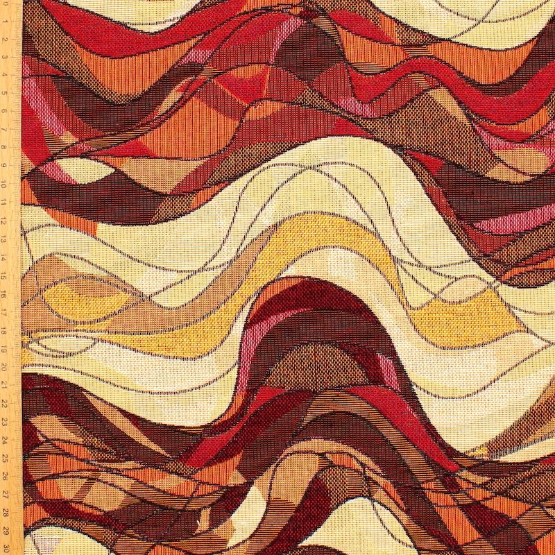 Jacquard fabric with waves - mocha