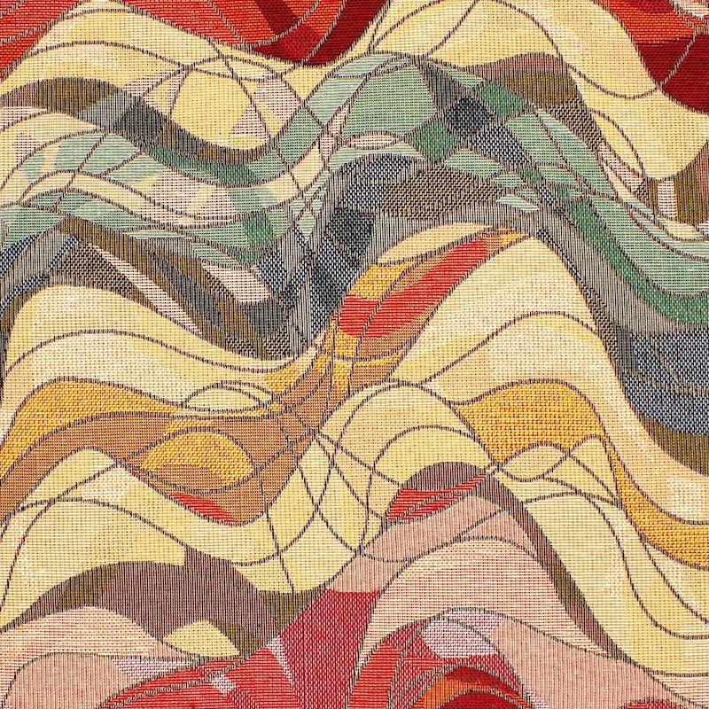 Jacquard fabric with waves - red