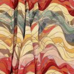 Tissu jacquard vague- rouge