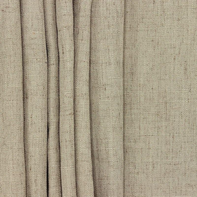 Tissu d'ameublement aspect lin sépia