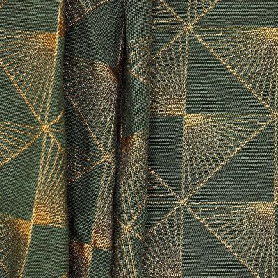Jacquard fabric with golden pattern - green