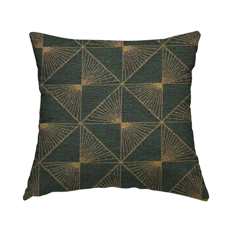Tissu jacquard à motif doré - vert