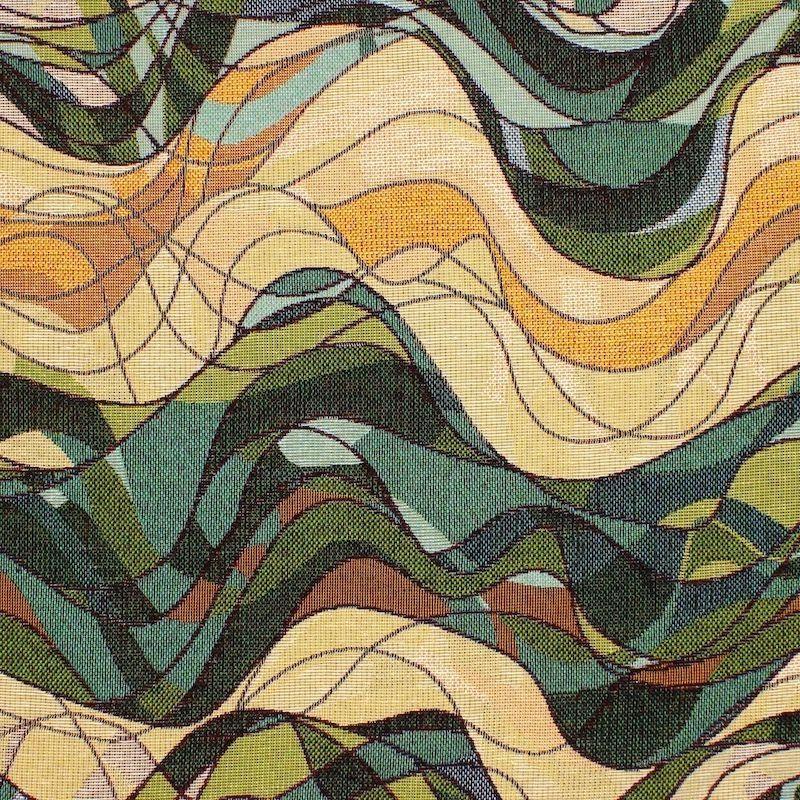 Jacquardstof met golven - groen