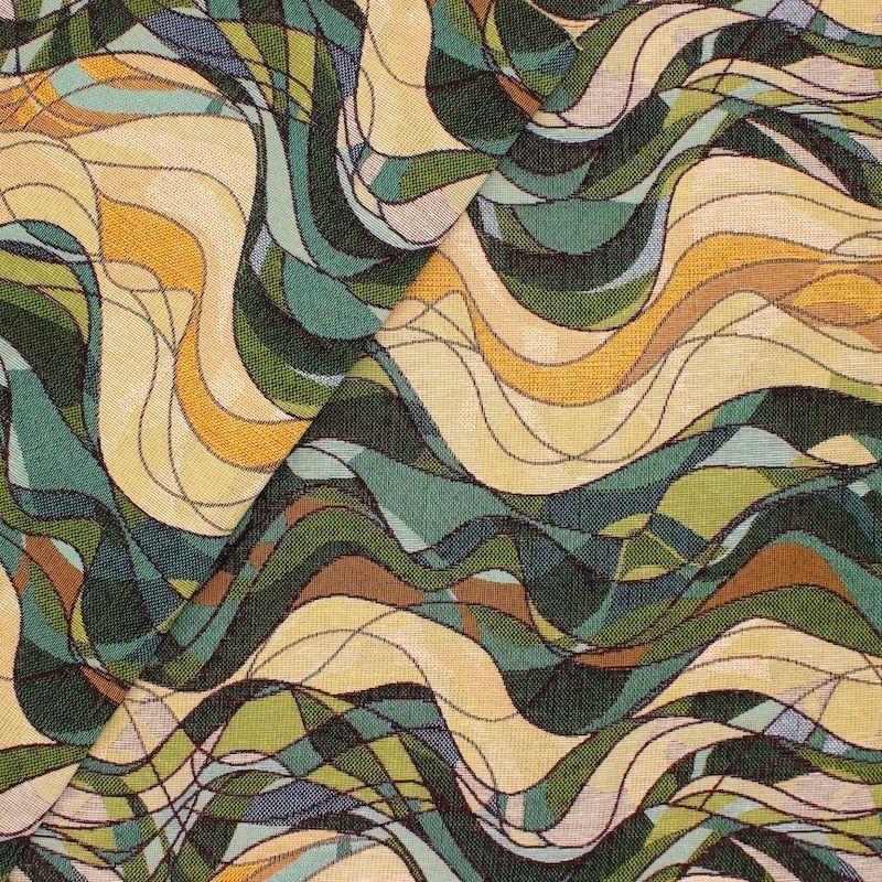 Tissu jacquard vague - vert