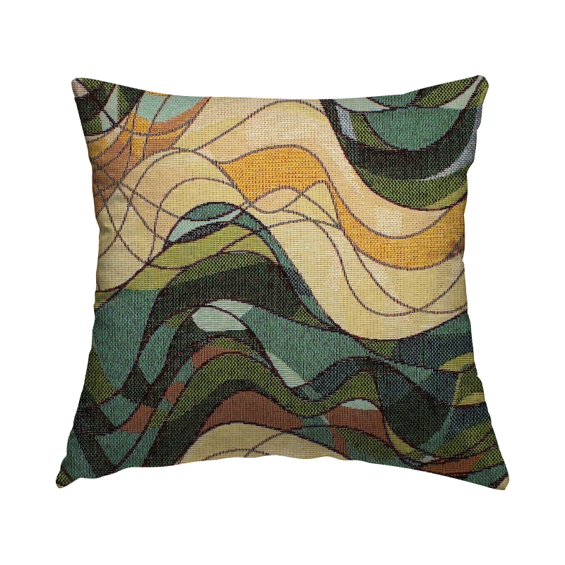 Jacquard fabric with waves - green