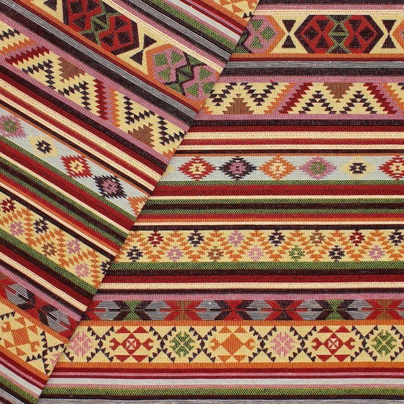 Jacquardstof met strepen en motieven - kleurrijk