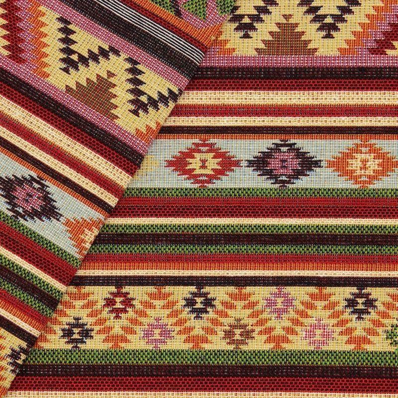 Tissu jacquard rayures et motifs - multicolores