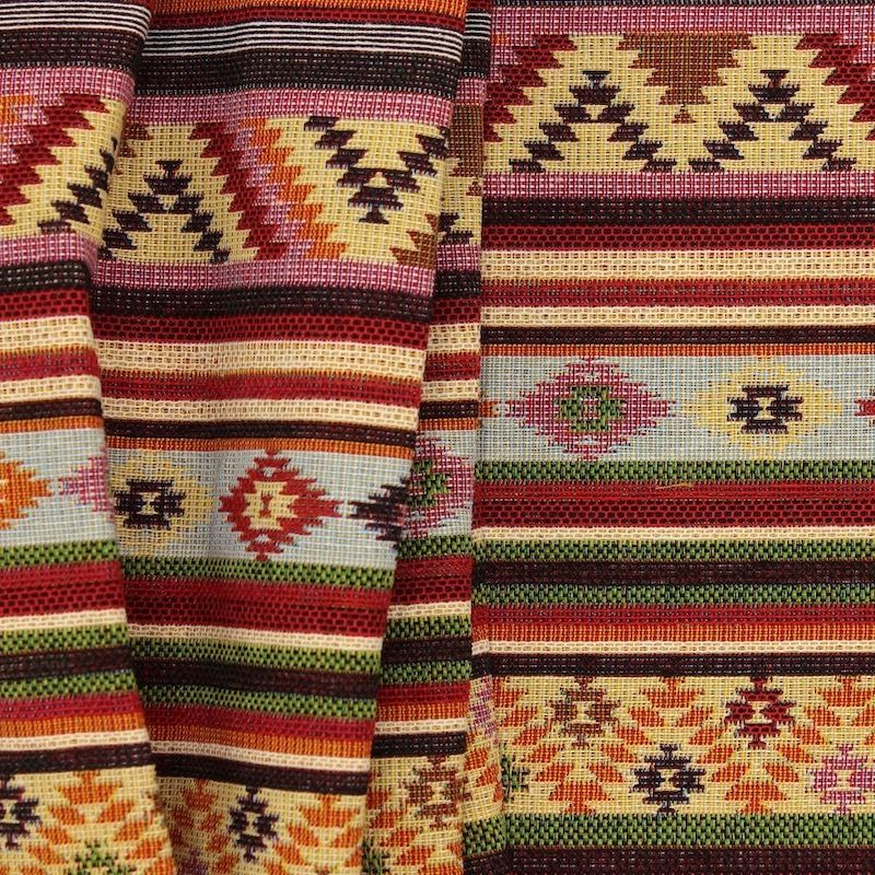 Jacquard fabric with stripes and patterns - multicolored