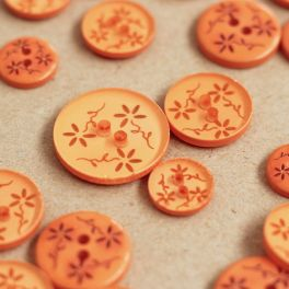 Semi-transparent button with flowers - orange