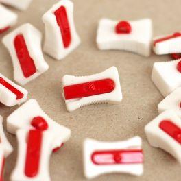Knoop slijper - wit en rood
