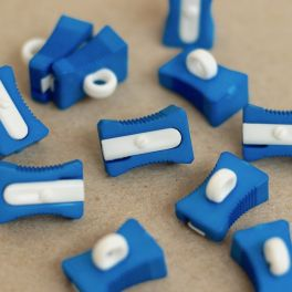 Pencil sharpener button - blue and white