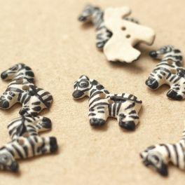 Zebra button - black and white