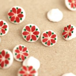 Resin button with flower - red and white