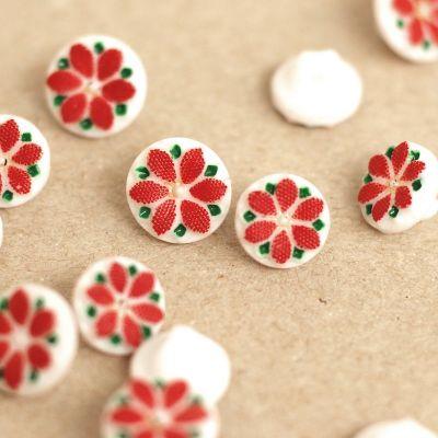 Bouton en résine fleur rouge et blanc