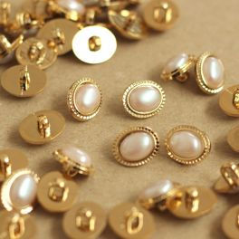 Vintage button with pearly and golden metal aspect