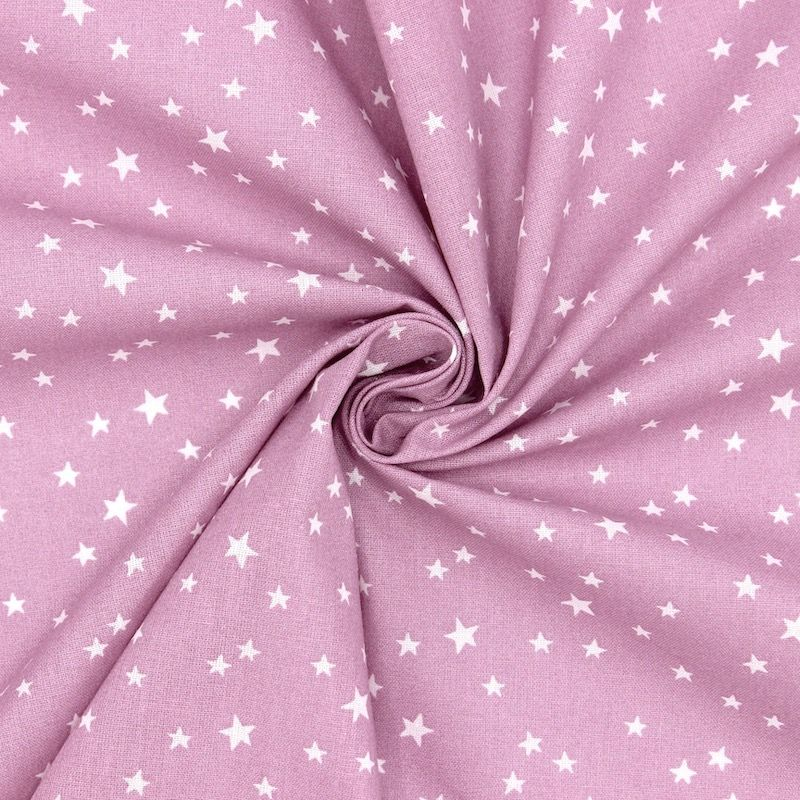 Katoen met sterren - violet