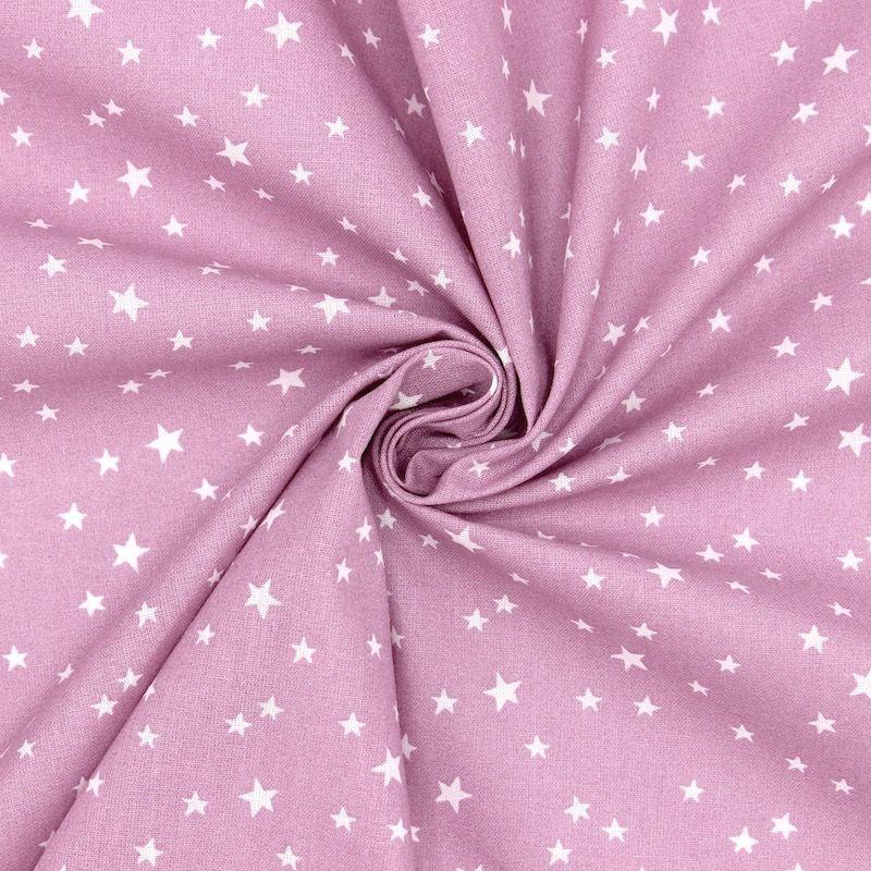 Tissu coton étoile - violet