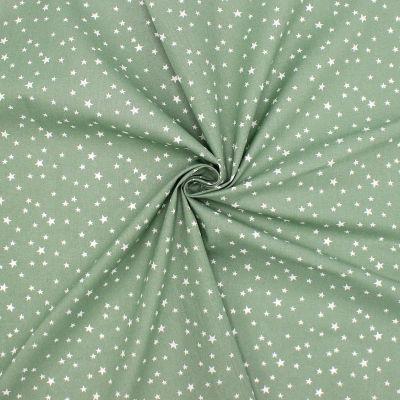 Katoen met sterren - mosgroen