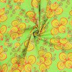 Tissu coton motif wax - anis/orange