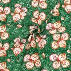Tissu coton motif wax - vert/rouille