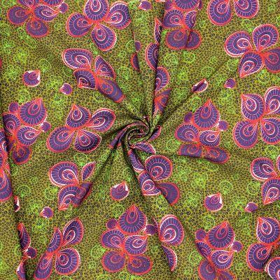 Tissu coton motif wax - kaki/mauve/rouge