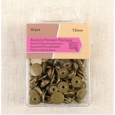 Doos met 30 drukknoppen - kastanjebruin brons