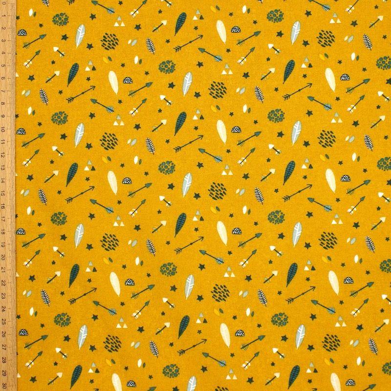 Tissu coton flèches et plumes - moutarde