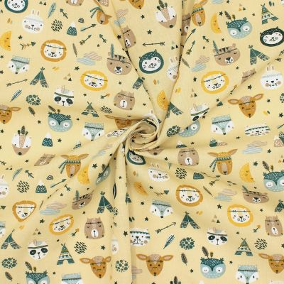 Cotton with arrows and feathers - mustard yellow