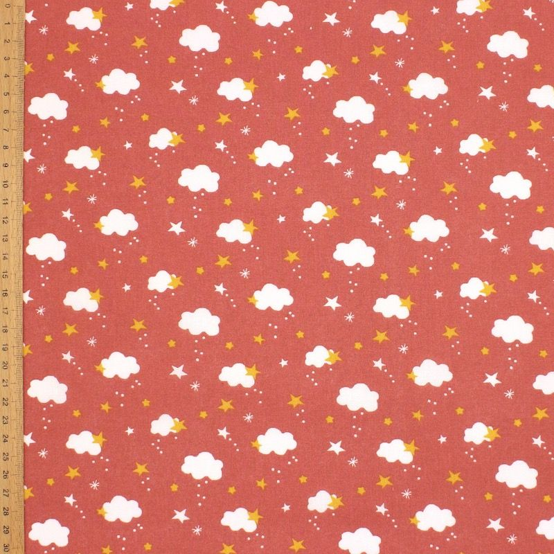 Cotton with clouds and stars - marsala