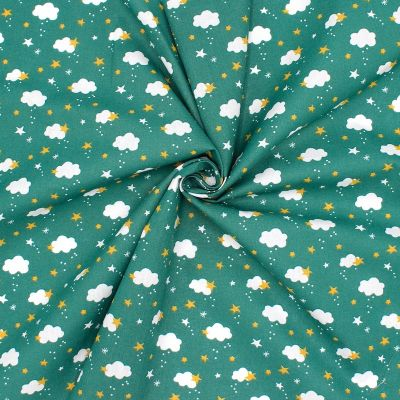Cotton with clouds and stars - emerald green