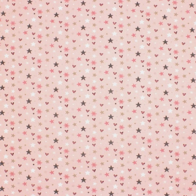 Cotton with hearts and stars - pink