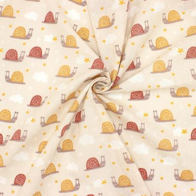 Cotton with marsala and mustard yellow snails - beige
