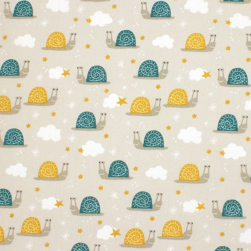 Cotton with teal and mustard yellow snails - beige
