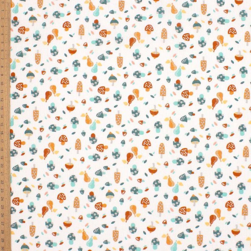 Tissu coton champignon canard et marsala  - blanc