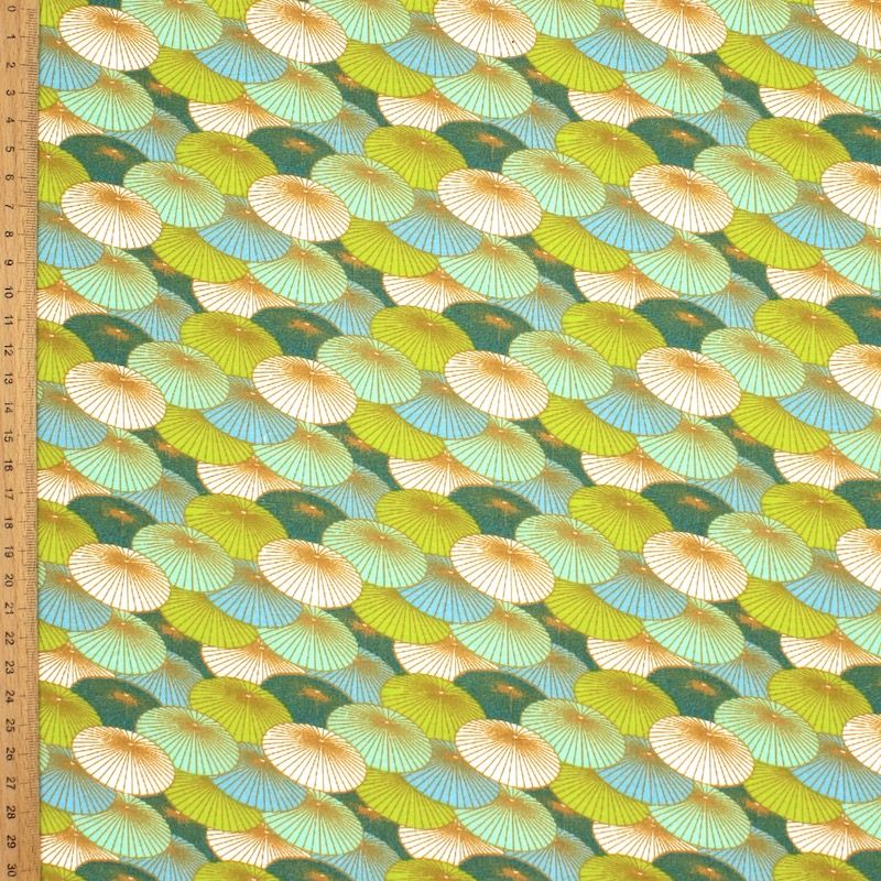 Cotton with parasols - green and teal