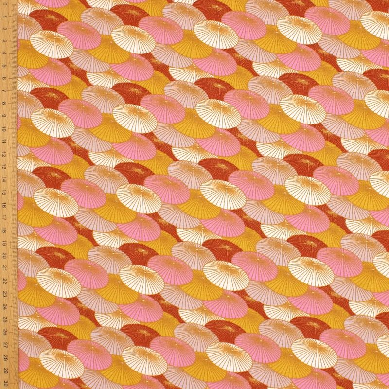 Cotton with parasols - pink and red