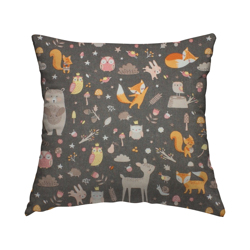 Cotton with forest animals - grey