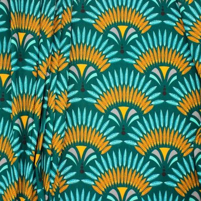 Cotton with twill weave and war bonnets - teal