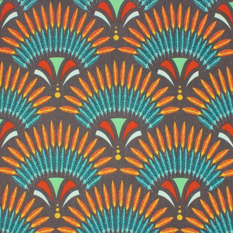 Tissu coton sergé coiffe indienne - taupe